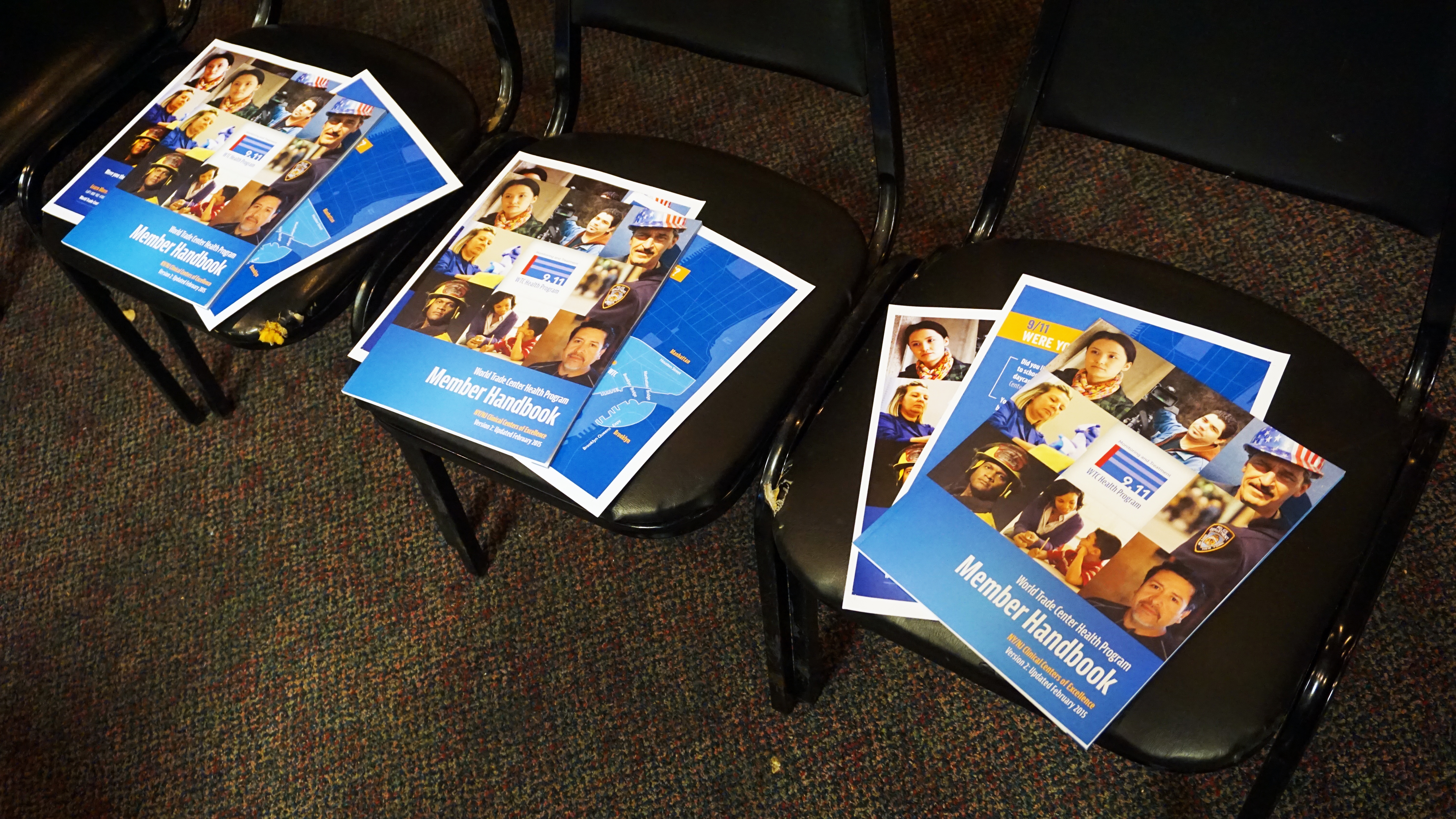 World Trade Center Health Program Member Handbooks are placed on seats for a FealGood Foundation Outreach and Education session to enroll 9/11 responders and survivors into the health program in Philadelphia, Pennsylvania on April 1, 2016. Photo by: Suneet Mahandru